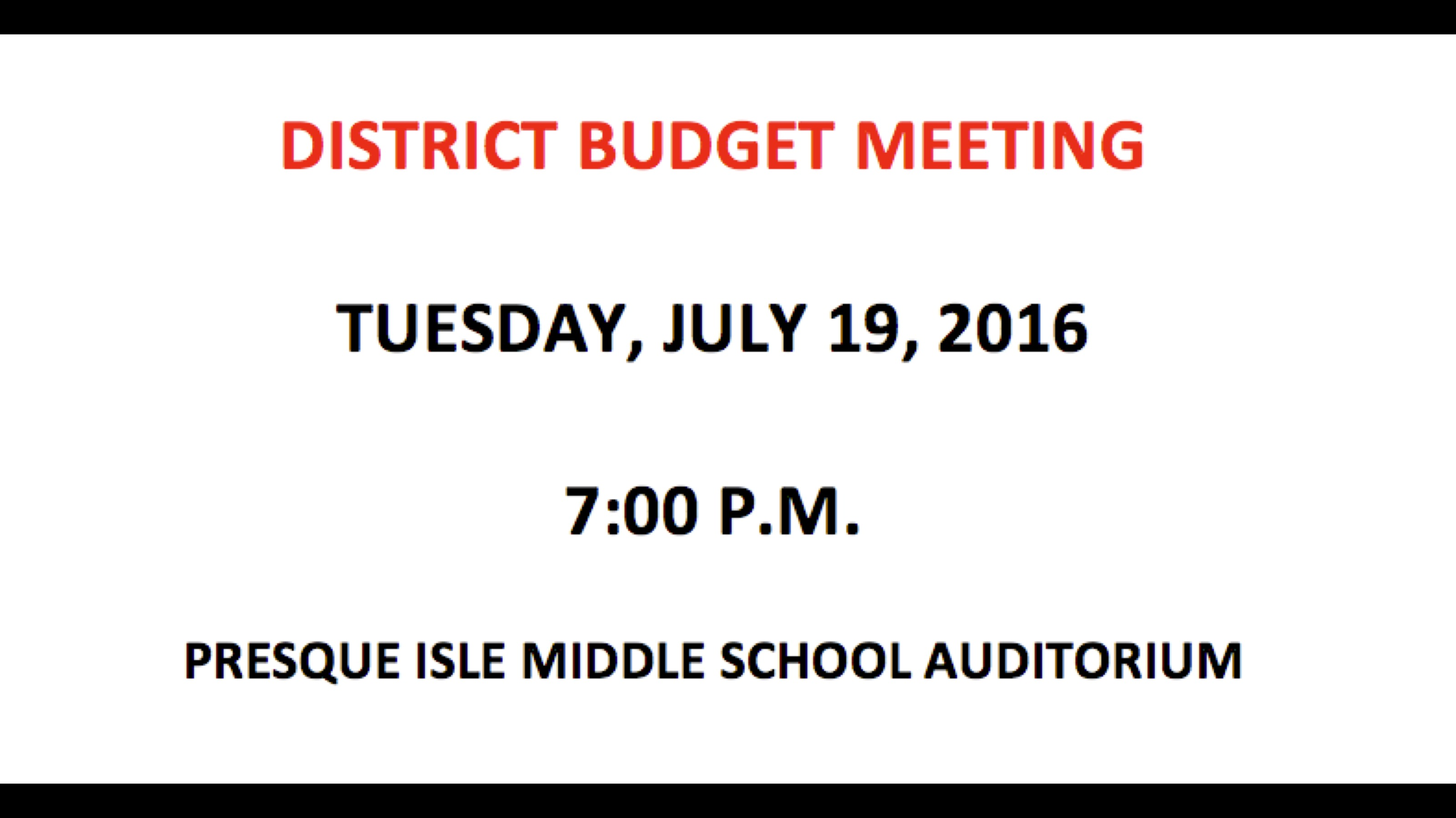 District Budget Meeting
